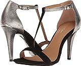 Calvin Klein Women's Nasi Heeled Sandal, Black/Dark Silver, 9.5 Medium US