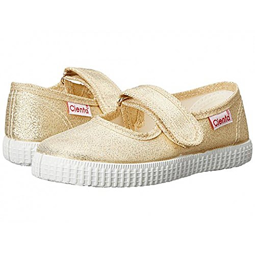 Cienta Toddler Girls Mary Jane Canvas Sneakers – Gold Metallic Casual Shoes With Adjustable Strap (26 M EU/9 M US Toddler) - Mary Jane Canvas Sneakers