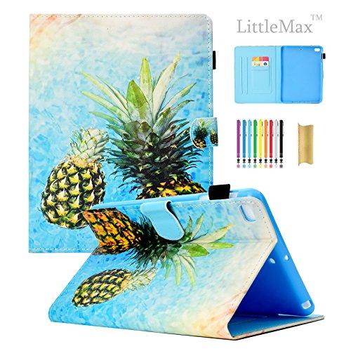 LittleMax iPad Mini 1/2/3/4 PU Leather Case, Lightweight Auto Wake/Sleep Flip Stand Case Smart Shell Magnetic Closure Cover for iPad Mini 1/2/3/4 -#2 Two Pineapple (Mini Animals Cover Ipad)