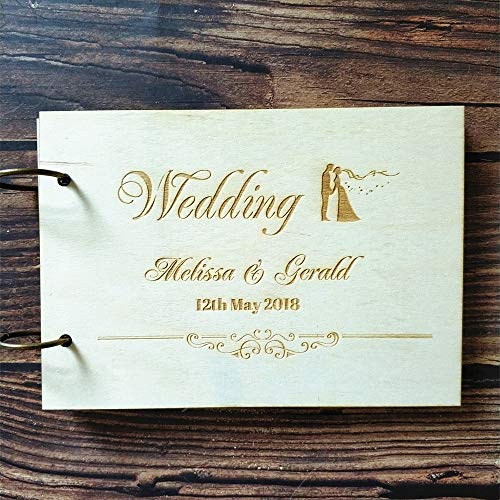 Best Quality - Guest Book - Personalized Welcome to Our Wedding Bride and Groom Guest Book Wedding Guestbook Custom Wood Engagement Gift Wedding Memory Book - by Kiartten - 1 Pcs
