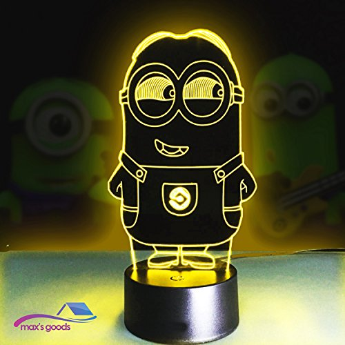Max's Goods Minions 3D Lamp LED night light Touch Table Desk Lamp 7 Colors 3D Optical Illusion Lights - Aa Micro Bags