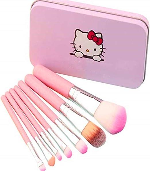 Brochas de maquillaje para niños, 7 piezas, set de brochas de maquillaje, base de cejas, delineador de ojos, brochas cosméticas, corrector para niños, niñas, color rosa: Amazon.es: Belleza