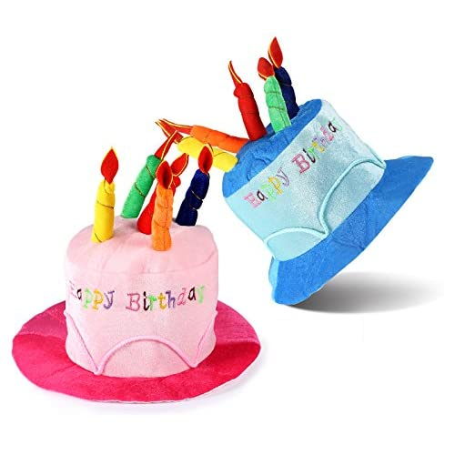 ONEDONE Happy Birthday Cake Novelty Hat With Candles 2 Pack New