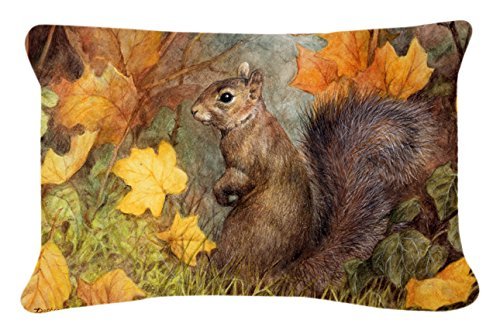 Caroline s Treasures Grey Squirrel in Fall Leaves Fabric Decorative Pillow, 12 x 16 , Multicolor