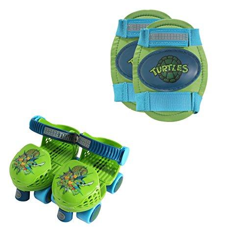 PlayWheels Teenage Mutant Ninja Turtles Roller Skates with Knee Pads, Green/Blue, Junior Size 6-12 ()