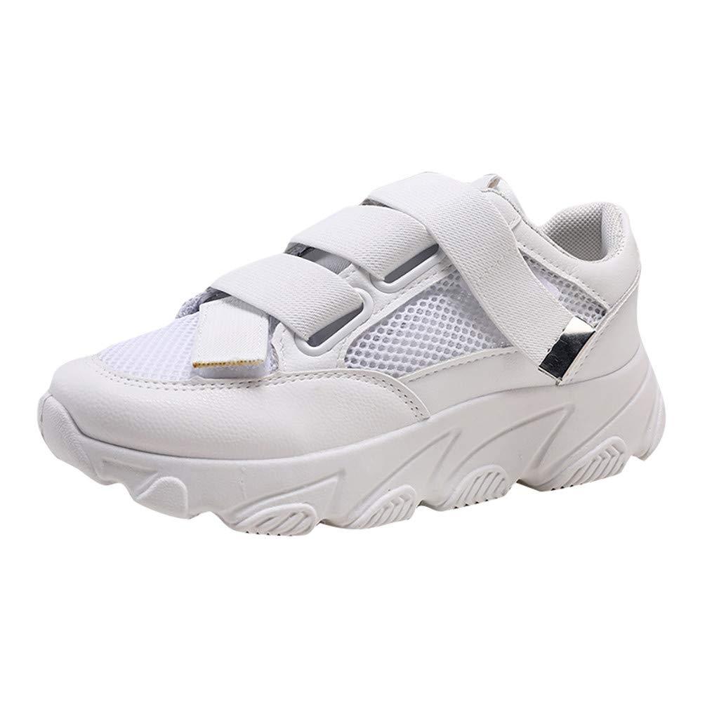 Women Walking Shoes Mesh Lightweight Casual Sports Slip on Gym Jogging Tennis Running Sneakers (US:5.5, White)