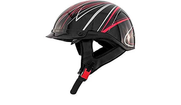 ZOX Roadster DDV Candy Red Motorcycle Half Helmet w// Pull Smoke Shield SM