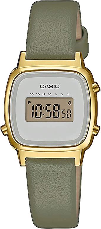 Casio Reloj Digital para Mujer de Cuarzo con Correa en Cuero Genuino LA670WEFL-3EF: Amazon.es: Relojes