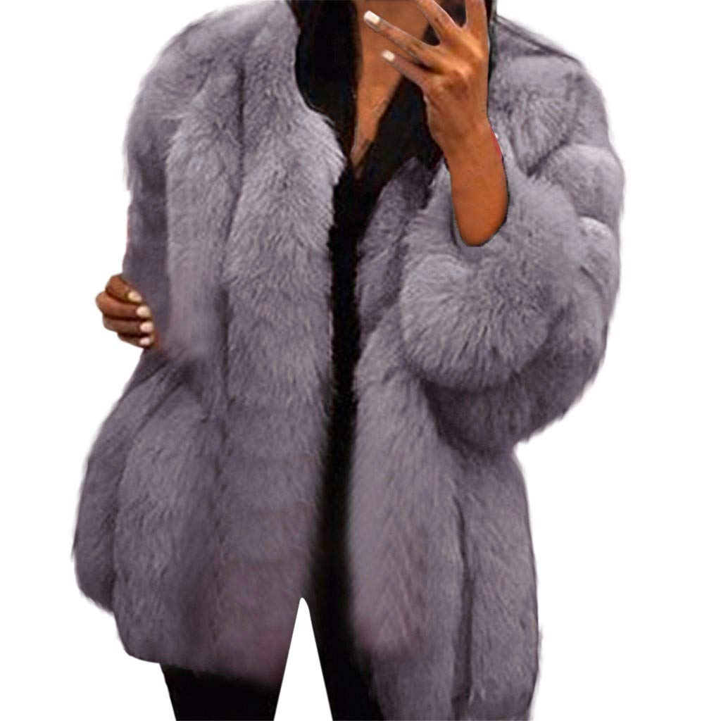 Kenvina Womens Plus Size Faux Coats Warm Furry Jackets Long Sleeved Thicker Outerwear Elegant Chic Short Cardigans Light Gray by Kenvina
