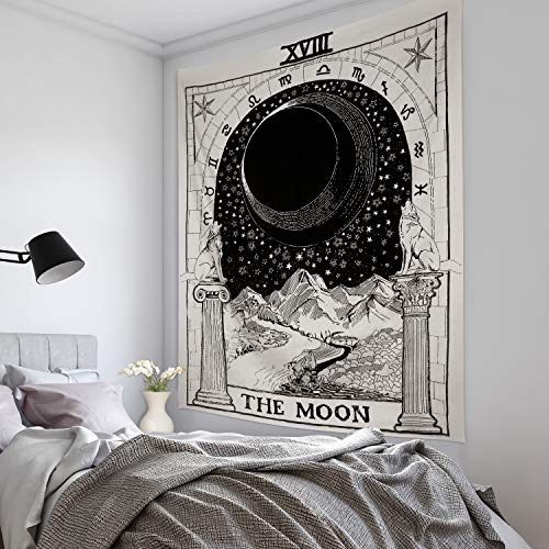 (Volcanics Tarot Tapestry Wall Tapestry Hanging The Moon Tapestry The Star Tapestry Art Tapestry Bedding Medieval Europe Divination Tapestry Mysterious Night Tapestry for Home Decor (51