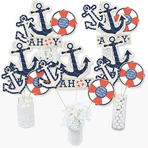 Ahoy - Nautical - Baby Shower or Birthday Party Centerpiece Sticks - Table Toppers - Set of 15]()