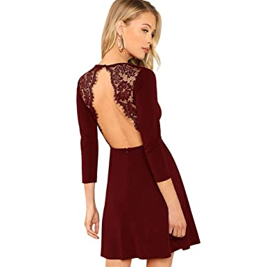 Kleid bordeaux langarm