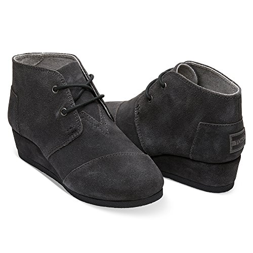 Toms Youth Desert Wedge Forged Iron Grey Suede Shoes 5