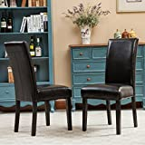Roundhill Furniture Donatello Urban Style Solid Wood Leatherette Padded Parson Chair (Set of 2), Black