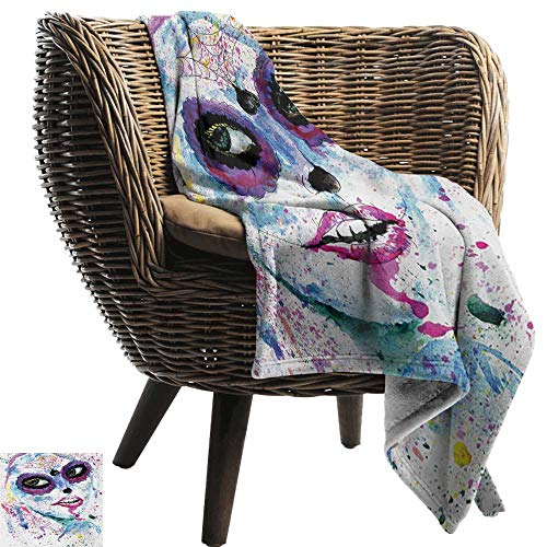 BelleAckerman Printed Blanket,Girls,Grunge Halloween Lady with Sugar Skull Make Up Creepy Dead Face Gothic Woman Artsy,Blue Purple,300GSM,Super Soft and Warm,Durable Throw Blanket 60