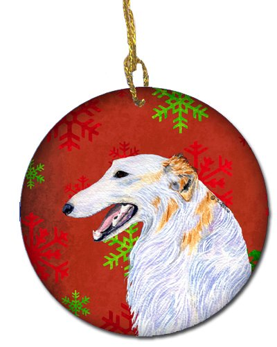 Caroline's Treasures SS4682-CO1 Borzoi Red Snowflakes Holiday Christmas Ceramic Ornament, Multicolor