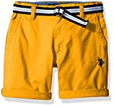 Image of U.S. Polo Assn. Little Boys' Fine Line Twill Short with Belt, Warhol Orange, 2T