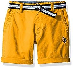U.S. Polo Assn. Big Boys\' Fine Line Twill Short with Belt, Warhol Orange, 16