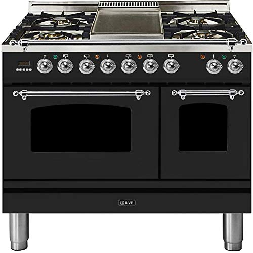 Ilve UPDN100FDMPMX Nostalgie Series 40 Inch Dual Fuel Convection Freestanding Range, 5 Sealed Brass Burners, 4 cu.ft. Total Oven Capacity in Matte Graphite, Chrome Trim (Natural Gas)