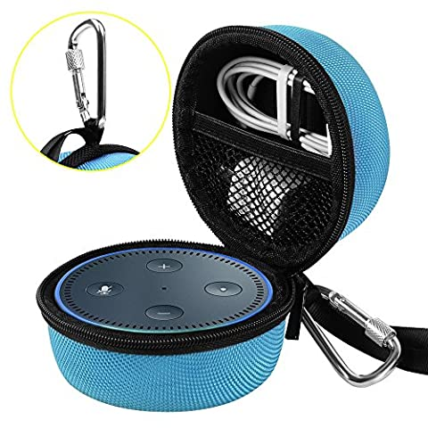 Travel Portable Carrying Protective Hard Case Box Pouch for Amazon All-New Echo Dot(2nd Generation) with Carabiner(Fits USB Cable and Wall Charger) - (Summer Echoes)