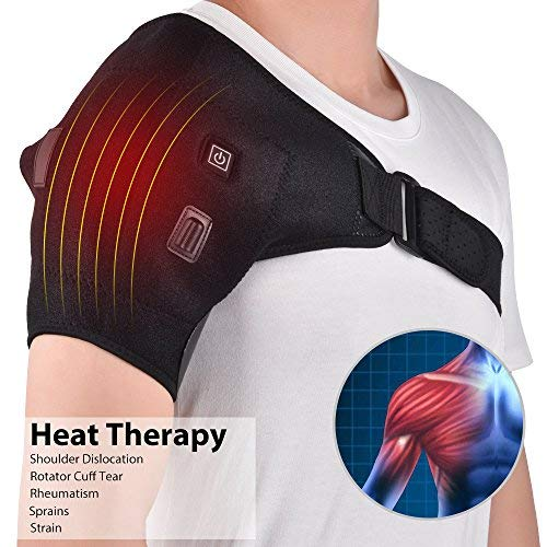 (Shoulder Stability Brace Support for Women & Men, Heated Shoulder Wrap Brace, Can Hold Ice Pack, Shoulder Brace Adjustable for Frozen Shoulder Pain, Bursitis, Labrum Tear)