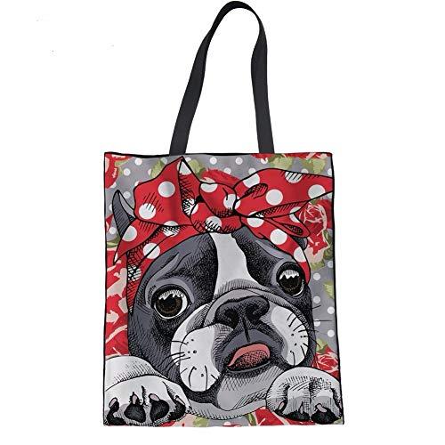 Dreaweet French Bulldog Print Beach Tote Bags Travel Totes Bag Shopping Bag (French Book Bag)