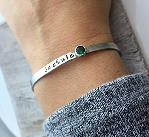 7dc26a1ef3a2 Image Unavailable. Image not available for. Color  Personalized Cuff  Bracelet - Sterling Silver Hand stamped ...