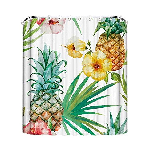 Crystal Emotion Pineapple Decor Shower Curtain Set,Watercolor Tropical Island Style With Exotic Fruit Palm Trees And Leaves,Bath Shower Curtain Green Yellow Bath Stall Size 66x72inch -