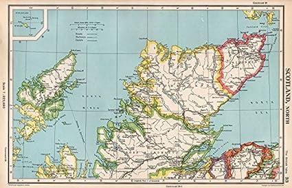 Map Of Uk Highlands.Scottish Highlands Scotland North Bartholomew 1952 Map Amazon Co