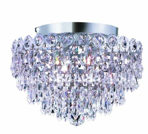 Elegant Lighting 1902F12C/RC Century 10-Inch High 4-Light Flush Mount, Chrome Finish with Crystal (Clear) Royal Cut RC Crystal