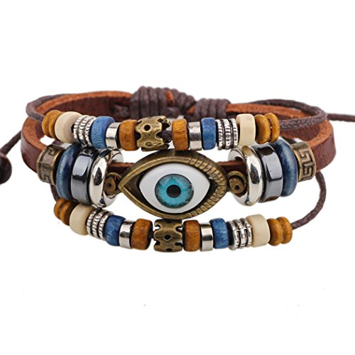 Real Spark Vintage Mystic Eye Charm Leather Wrap Bracelet, 3 Beaded Strands Set (Trifari Coral Bracelet)