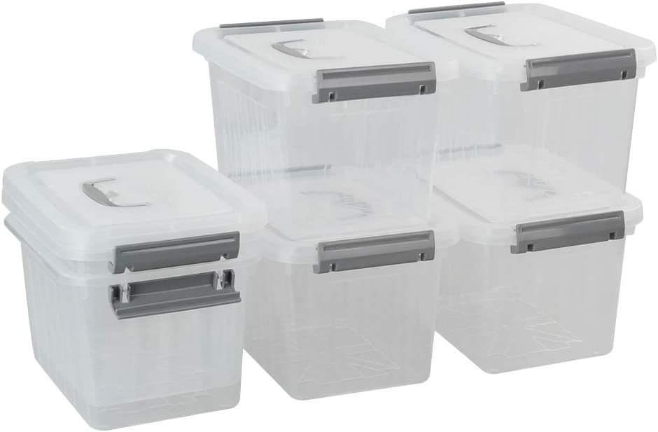 Rinboat Office Plastic Storage Bin With Lids Small Portable Latch Box, Clear and Grey, 6 Packs