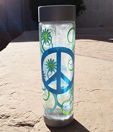Glass Water Bottle 16oz Peace Design Glasstic Bottle Co COMINHKR030879 Grey Cap /& Base