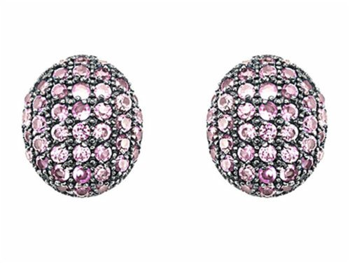 Star K Oval Puffed Earrings with Created Pink Sapphire Sterling Silver (Puffed Star Silver Sterling)