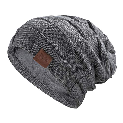 (REDESS Beanie Hat for Men and Women Winter Warm Hats Knit Slouchy Thick Skull Cap(Grey))