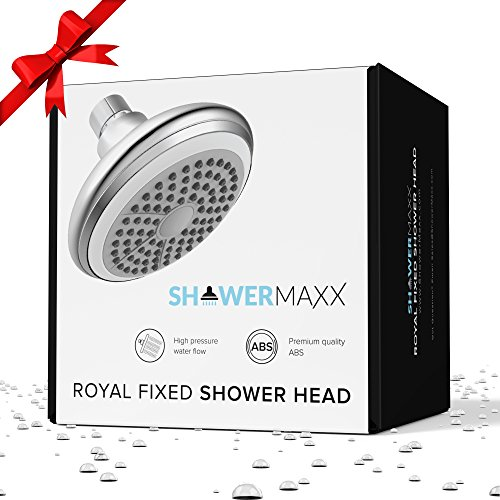 ShowerMaxx | 4 inch High Pressure Water Flow Shower Head in Plated Chrome | 2.5 GPM Single Setting Fixed Showerhead with High-Flow Nozzle Spray | Adjustable Head with Removable Restrictor | Wall Mount - Showerhead Single