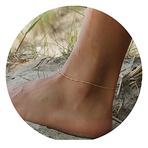Befettly Womens girls Adjustable Double Layer Handmade Dainty Anklet 14K Gold Fill Boho Beach Foot Chain-2-One Bead -