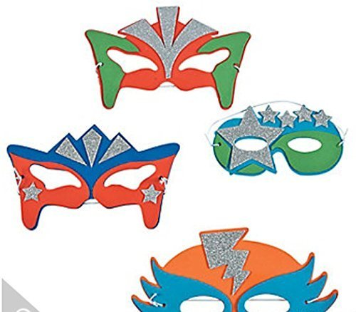 Foam Superhero Masks, 12 Sparkly Masks for Costumes, Party Favors]()