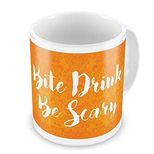 Coffee Mug Bite Drink Be Scary Halloween Orange Wallpaper - -