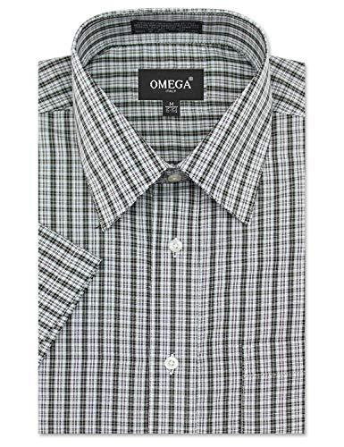 Men's Regular-Fit Plaid Short Sleeve Dress Shirt, Grey Shirts - Shirt Adults Short Cotton Sleeve