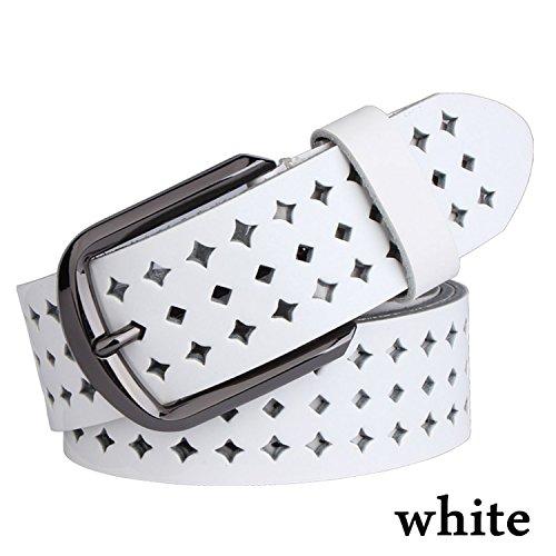 Pajamasea New Women Cow Genuine Leather Belts Hollow Korea Fashion For Women Female Pin Buckle Belt Nqsk002 Length 100-125Cm White 115Cm
