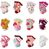 MAYBOX 12 Pairs Assorted Non-Skid Ankle Cotton