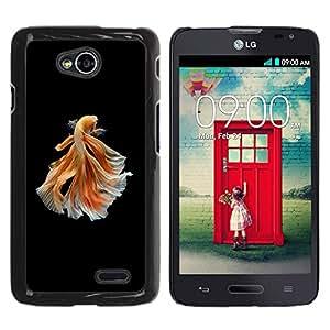 YOYOYO Smartphone Protección Defender Duro Negro Funda Imagen Diseño Carcasa Tapa Case Skin Cover Para LG Optimus L70 LS620 D325 MS323 - peces de colores naranja negro exótico buceo mascota