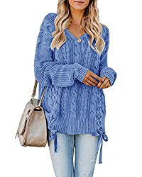 Womens Pullover Sweaters Plus Size Cable Knit V Neck Lace Up Long Sleeve Fall Jumper Tops Blue