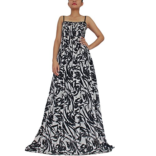 Women Maxi Extra Long Sundress Plus Size Party White Black B&W Abstract Prints (1X) (Extra Long Plus Size Maxi Dresses)