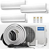 MrCool Olympus 48,000 BTU Ductless Heat Pump Split System 3 Zone Wall Mounted 12,000+12,000+24,000 with 16FT Install Kit 230-Volt/60Hz