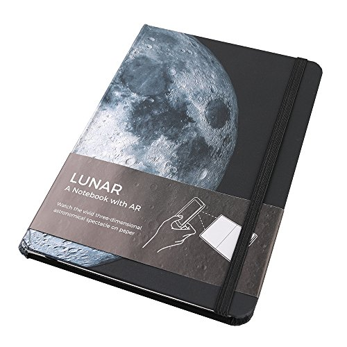 AstroReality LUNAR AR Notebook, Embossed Hardcover Journal Diary Planner Writing Notepad with Interactive Augmented Reality App and Back Cover Folder, 7 x 5 Inches - 176 Pages, Gift for All Ages (Interactive Notepad)