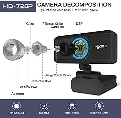 Taoguining Hxsj S90 Hd Webcam 720p Web Cam 360 Degree Rotating Pc