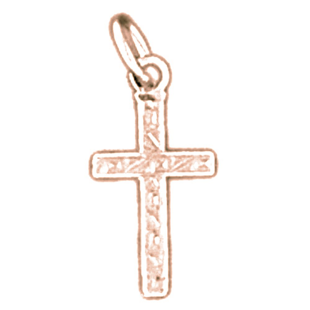 Jewels Obsession Cross Necklace 14K Rose Gold-plated 925 Silver Latin Cross Pendant with 18 Necklace