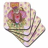 3dRose cst_23294_1 Cat Ballet Ballerina Cat in Ballet Costume I Love Ballet Pastel Illustration Dance Tutu Feline Soft Coasters, Set of 4
